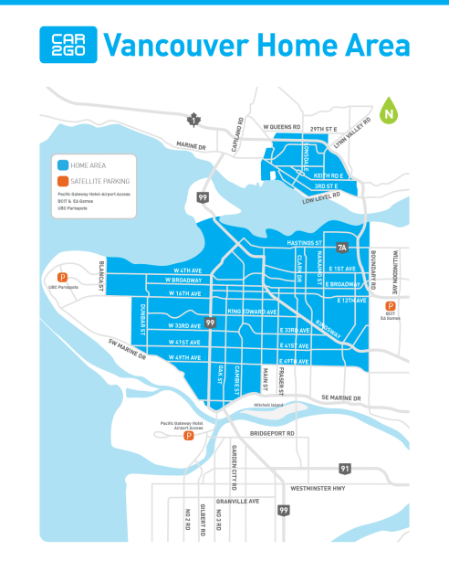 car2go Map Vancouver | Where to drive