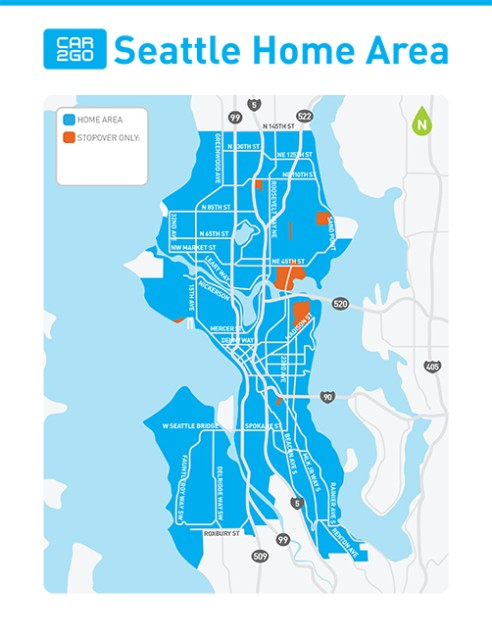 Where To Drive Car2go Home Area In Seattle